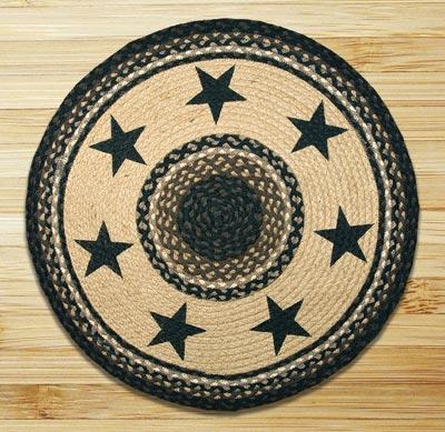 Black Stars Round Braided Rug