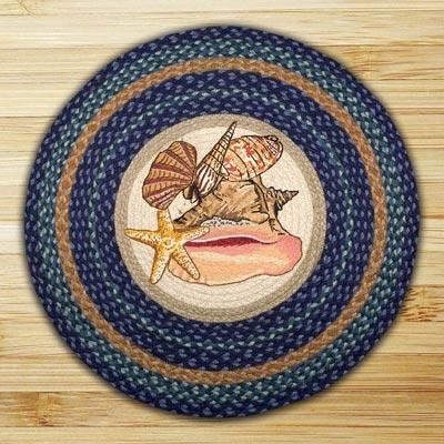 Sea Shells Round Braided Rug