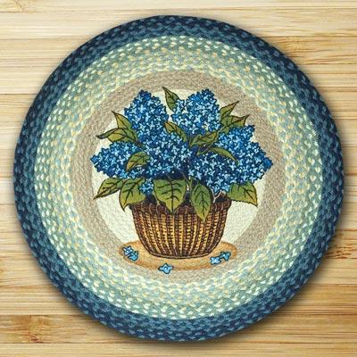 Blue Hydrangea Round Braided Rug
