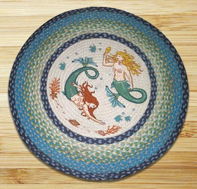 Mermaids Round Braided Rug