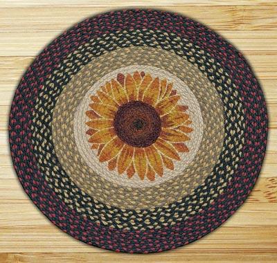 Sunflower Round Braided Rug