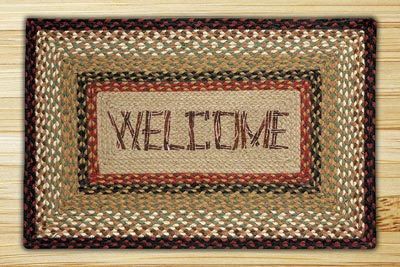 Welcome Rectangle Braided Jute Rug