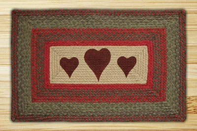 Hearts Rectangle Braided Jute Rug