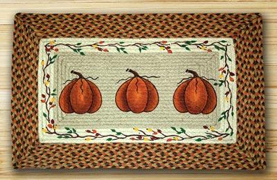 Harvest Pumpkin Rectangle Braided Jute Rug