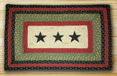 Black Stars Rectangle Braided Jute Rug