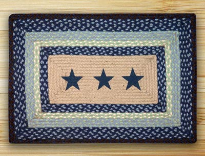 Blue Stars Rectangle Braided Jute Rug