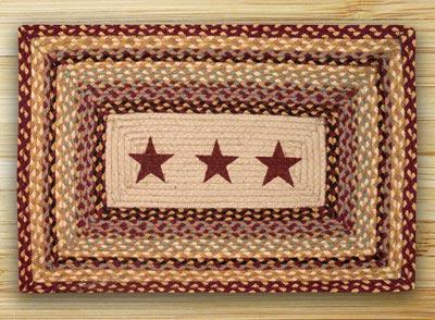 Burgundy Stars Rectangle Braided Jute Rug