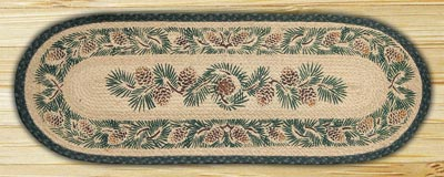 Pinecone Braided Jute Tablerunner - 48 inch