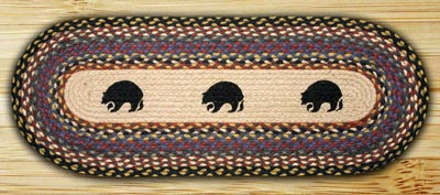 Black Bears Braided Jute Table Runner- 36 inch