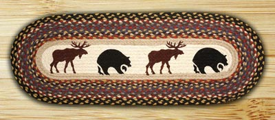 Bear and Moose Braided Jute Table Runner - 36 inch