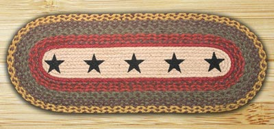 Black Stars Braided Jute Tablerunner - 48 inch