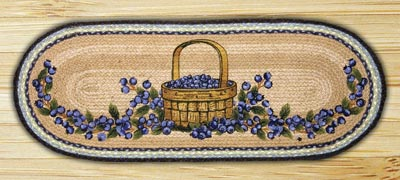 Blueberry Basket Braided Jute Tablerunner - 36 inch