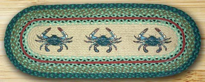 Blue Crab Braided Jute Tablerunner - 36 inch