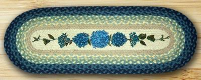 Blue Hydrangea Braided Jute Tablerunner - 36 inch