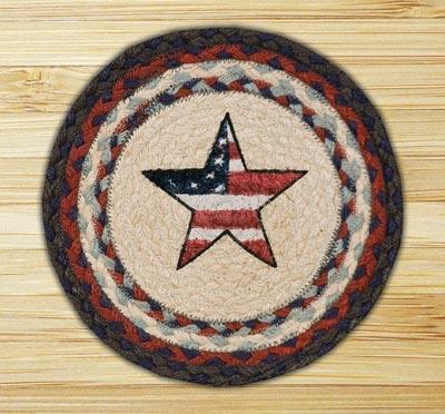 Americana Star Braided Jute Tablemat - Round (10 inch)