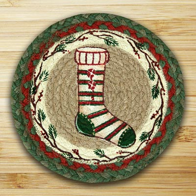 Stocking Braided Jute Tablemat - Round (10 inch)