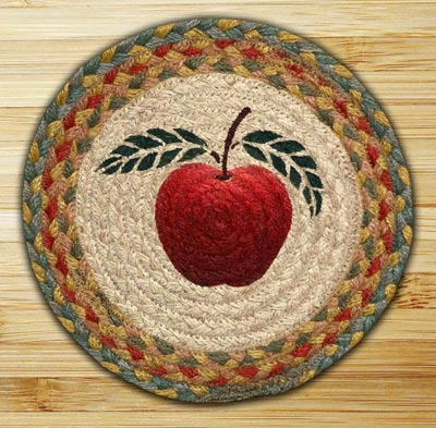 Apple Braided Jute Tablemat - Round (10 inch)