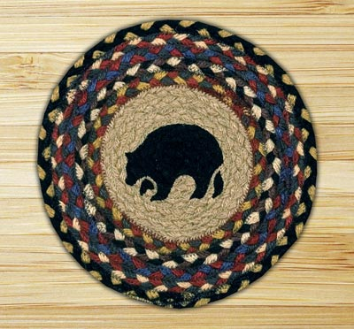 Black Bear Braided Jute Tablemat - Round (10 inch)