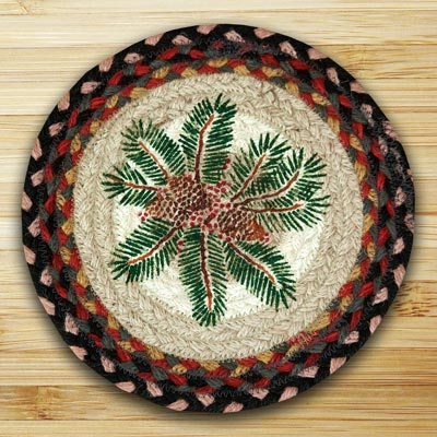 Pinecone Red Berry Braided Jute Tablemat - Round (10 inch)