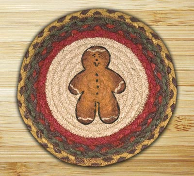 Gingerbread Man Braided Jute Tablemat - Round (10 inch)