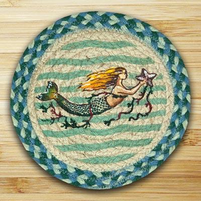 Mermaid Braided Jute Tablemat - Round (10 inch)