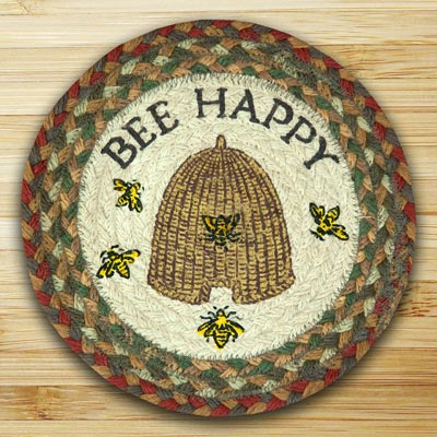 Bee Happy Braided Jute Tablemat - Round (10 inch)