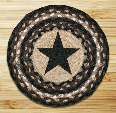 Black Star Braided Jute Tablemat - Round (10 inch)