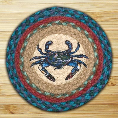 Blue Crab Braided Jute Tablemat - Round (10 inch)