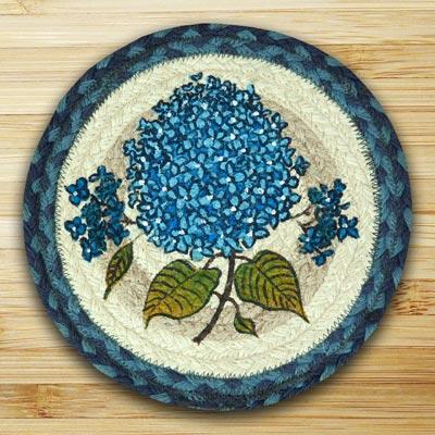 Blue Hydrangea Braided Jute Tablemat - Round (10 inch)