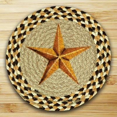 Golden Barn Star Braided Jute Tablemat - Round (10 inch)