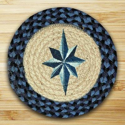 Eight Point Star Braided Jute Tablemat - Round (10 inch)