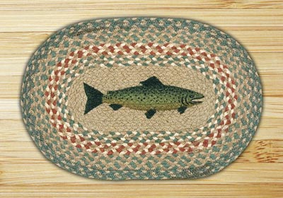 Fish Braided Jute Tablemat - Oval