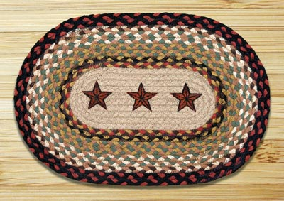 Barn Stars Braided Jute Tablemat - Oval