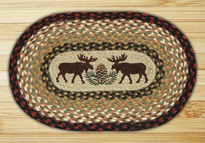 Moose and Pinecone Braided Jute Tablemat - Oval
