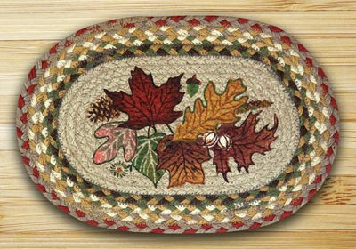 Autumn Leaves Braided Jute Tablemat - Oval