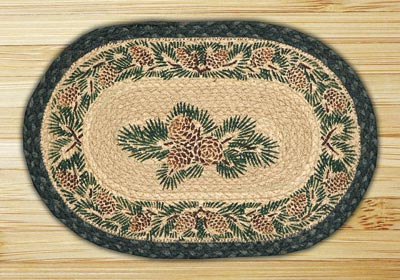 Pinecone Braided Jute Tablemat - Oval
