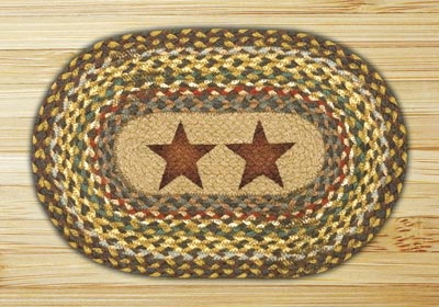 Gold Stars Braided Jute Tablemat - Oval
