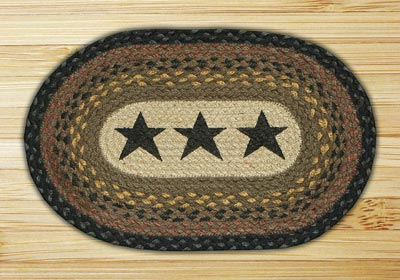 Black Stars Braided Jute Tablemat - Oval