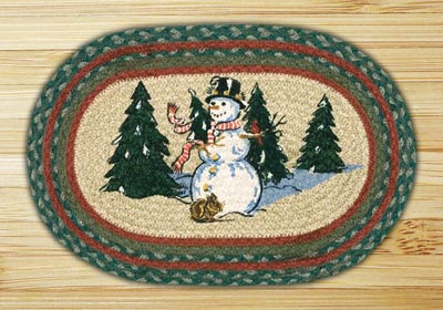 Winter Wonderland Braided Jute Tablemat - Oval