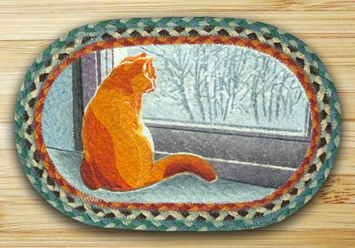 Winter Cat Braided Jute Tablemat - Oval