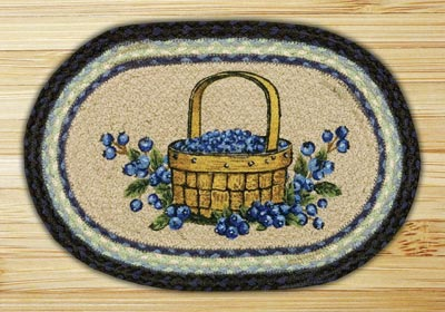 Blueberry Basket Braided Jute Tablemat - Oval