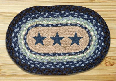Blue Stars Braided Jute Tablemat - Oval