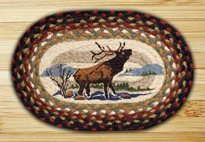 Winter Elk Braided Jute Tablemat - Oval