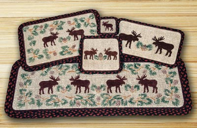 Moose and Pinecone Wicker Weave Tablerunner (36 inch)
