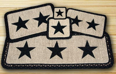 Black Star Wicker Weave Tablemat