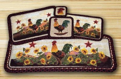 Morning Rooster Wicker Weave Tablerunner (36 inch)