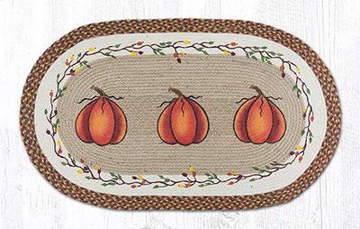 Harvest Pumpkin Braided Jute Rug, Oval - 27 x 45 inch