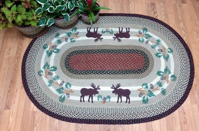 Moose and Pinecone Braided Jute Rug, Oval - 4 x 6 foot