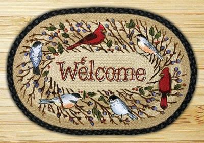 Birdsong Welcome Braided Jute Rug