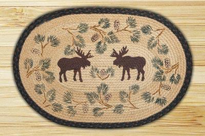 Moose and Pinecone Braided Jute Rug